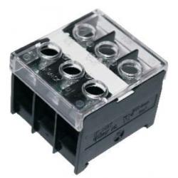 Колодка карболитовая на DIN-рейку 3П 50А 600В