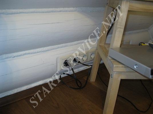 Встроенные розетки в деревянном доме