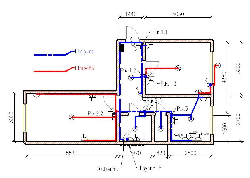 размещение электрооборудования и магистрали 2D