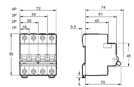 размеры модульного выключателя