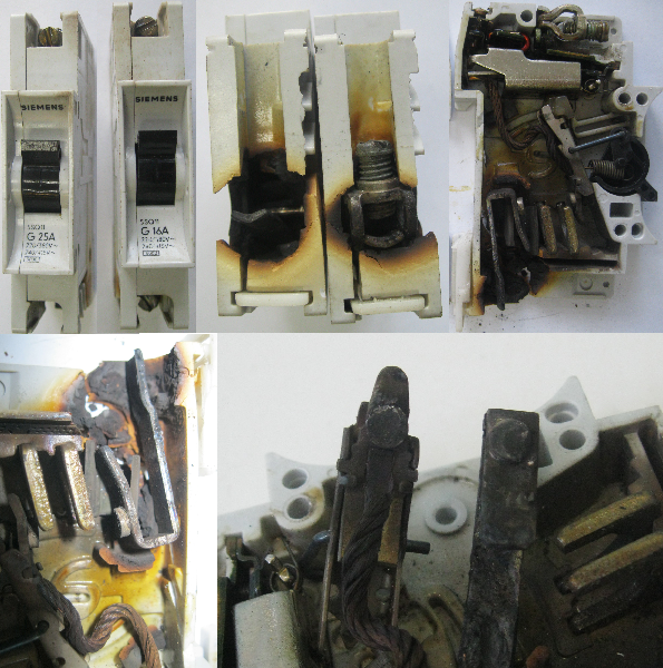 Автоматический выключатель сгорел